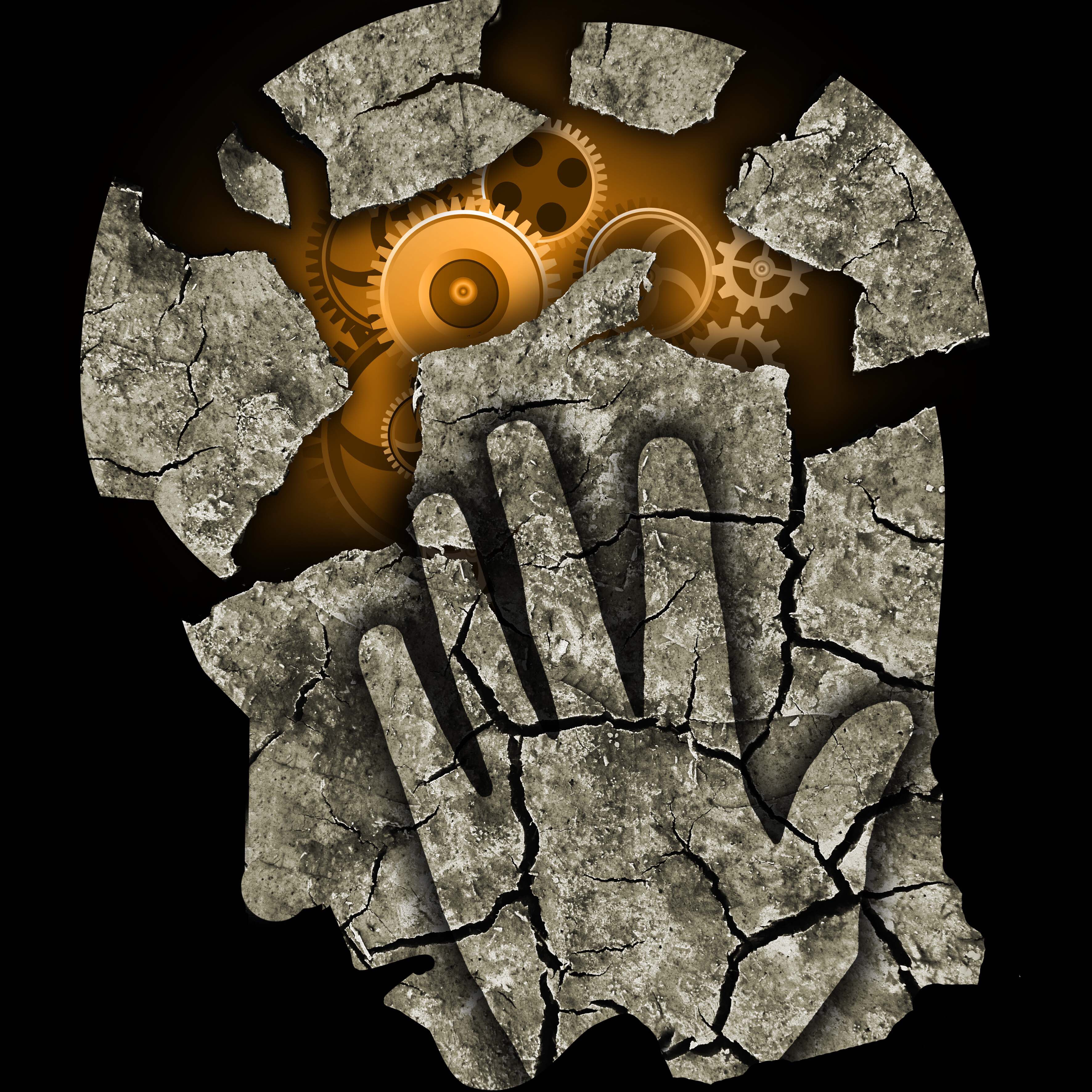 Stone brain breaking apart with cogs inside