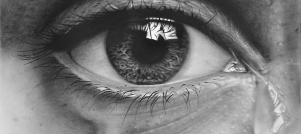 Pencil drawing of eye tearing