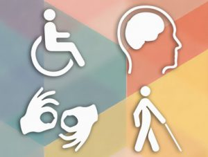 Simple images of disability examples, person in a wheelchair, brain, sign language, person with cane.