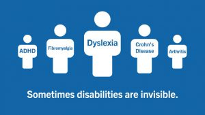 "Sometimes disabilities are invisible. A line of people with labels ""ADHD"", ""Fibromyalgia"", ""Dyslexia"", ""Crohn's disease"", ""Arthritis"""