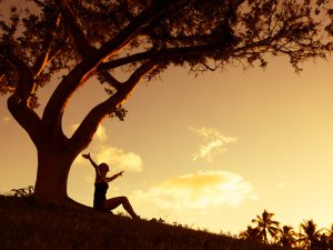Lady sitting under a tree at dusk with outstretched arms