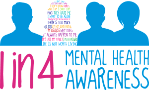 "1 in 4 mental health awareness. 4 silhouettes, 3 are blue and 1 is has words such as ""there's too much to do"" and ""why does it always happen to me?"""