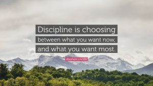 Discipline is choosing between what you want now, and what you want most. Quote attributed to Abraham Lincoln with background of mountains and trees