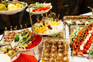 Buffet table full of food