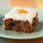 Square of carrot cake on a plate